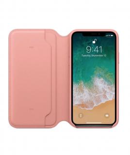 Apple Folio kožené pouzdro pro iPhone X/XS bledě růžové